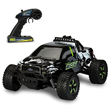 Amazon.com  Kid Galaxy Ford f150 Remote Control Truck. Fast 30 MPH All  Terrain Off-road RC Car. RTR 1 10 Scale 2.4 Ghz 20v Electric Rechargeable   Toys   ... a61e02751b3