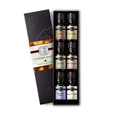 Coffee Shop Set of 6 Fragrance Oils - Premium Grade Scented Oil - 10ml - Coffee, Café Mocha, Chai Tea, Hot Chocolate, Blueberry Muffin, French Vanilla