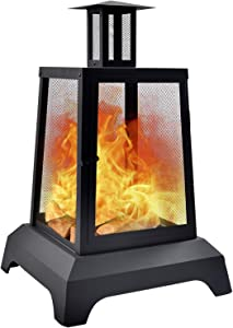 NSdirect Large Fire Pit Steel Wood-Burning Outdoor Fireplace Tower 43