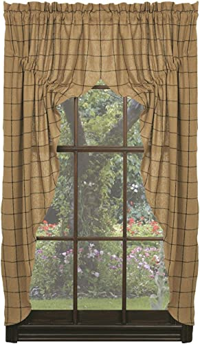Prairie Curtains IHF Burlap Check 100 Cotton 72-Inches x 63-Inches