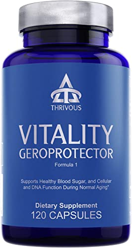 Vitality Geroprotector - Enhance Blood Sugar Cell Function for Better Aging - Advanced Natural Geroprotector Supplement Berberine, Milk Thistle, Blueberry Anthocyanin , Coenzyme Q10 CoQ10