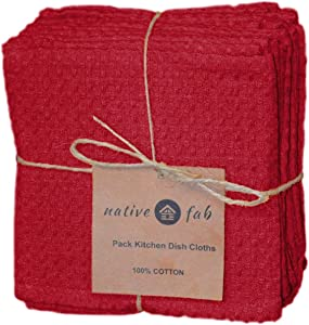 Native Fab Set of 12 Kitchen Dish Cloths Cotton 12x12 Absorbent Washable, Dish Towels, Restaurant Cleaning Towels, Bar Mops Towels, Rags for Home Kitchen Bars, Red