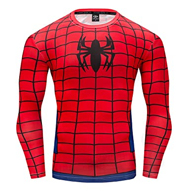 a863df75 Spider-Man Compression Shirts Long Sleeve Cosplay Tops for 3D Printed T  Shirts (Small