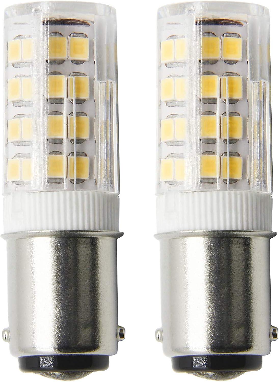 ZOZO Bombillas LED Ba15d 4W No Regulable Brillo Ultra Alto Blanco Cálido 3000K Equivalentes a Lámparas Ba15d B15 Halógenas de 45W 400LM AC 220-240V Luz de la Máquina de Coser, Luz Náutica(2 piezas)