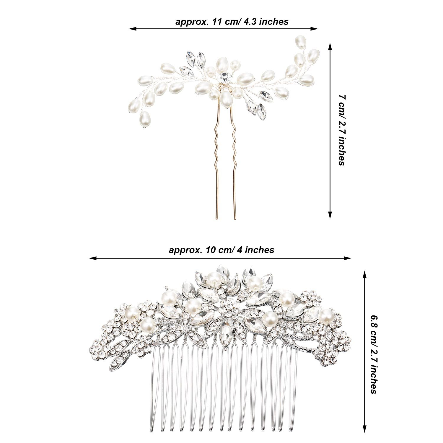 Gejoy 3 Pieces Elegant Wedding Crystal Hair Accessories, Leaves Flowers Hair Comb and 2 Pieces Rhinestone Bridal Hair Pins for Women, Bride or Bridesmaid by Gejoy (Image #7)