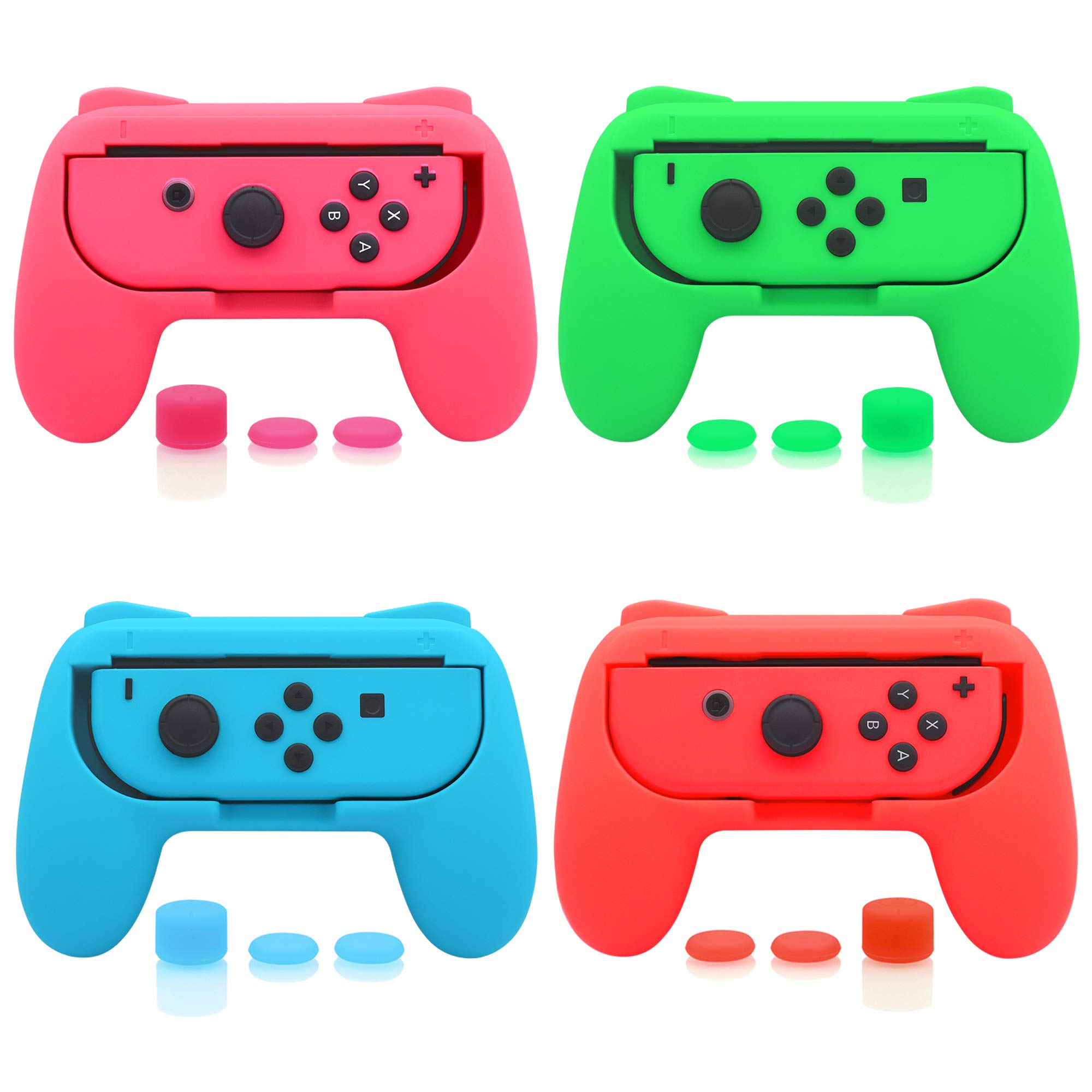 FASTSNAIL 4 Pack Grips Kit for Nintendo Switch Animal Crossing Joy-Con & OLED Model Joycon, Wear-Resistant Grip Controller Compatible with Joy-con with 12 Thumb Grip (Orange, Purple, Green and Yellow)