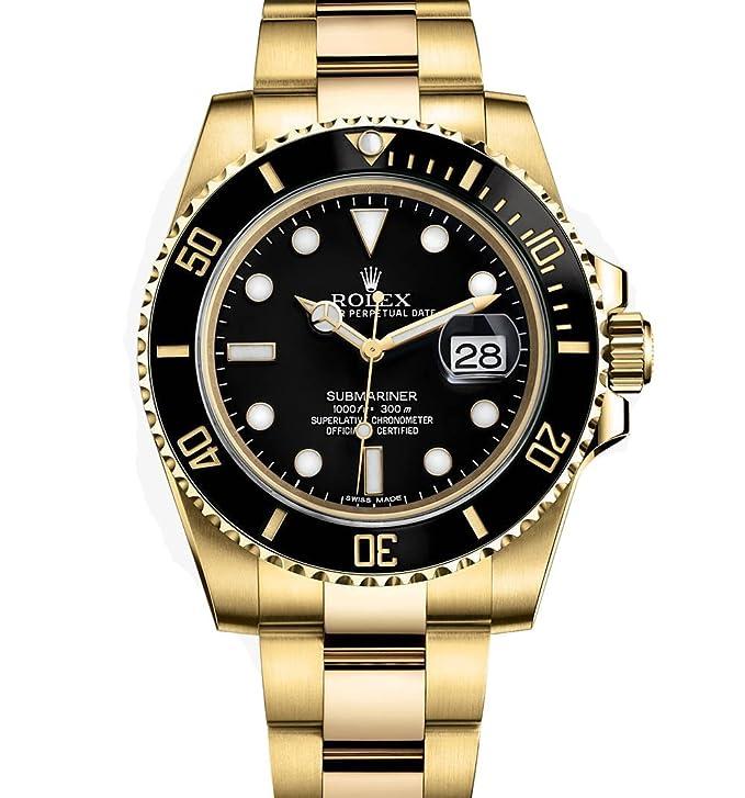 Rolex Submariner Yellow Gold Watch Black Dial 116618 Unworn 2016