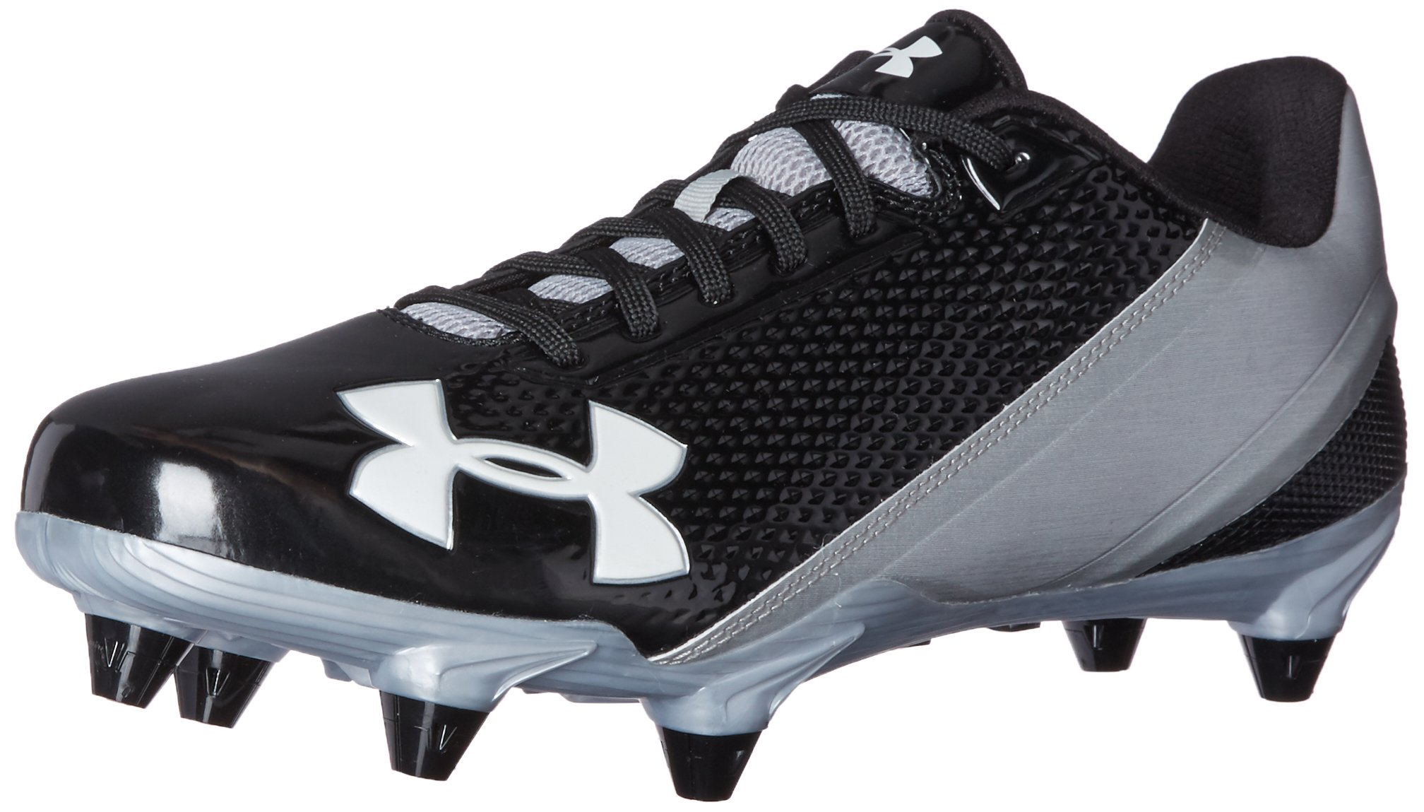 Under Armour Men's Speed Phantom Low D Football Shoe, Black (002)/Metallic Silver, 9.5 by Under Armour