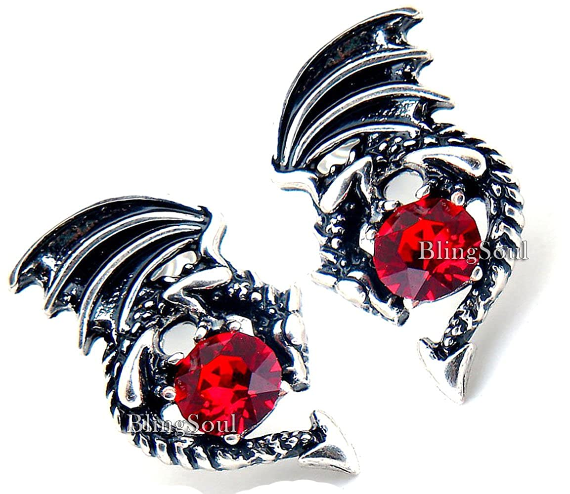 Merchandise Jewelry Gifts Collection Silver Game Crystal Stud Dragon Earring
