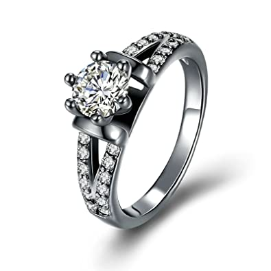 c9e11d84f2d8 Blisfille Anillo de Boda Anillo Oro Blanco Y Diamante Anillo de Mujer  Chapado en Oro