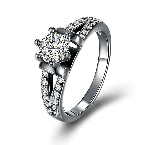 Blisfille Anillos Blanco Compromiso Anillos con Diamantes ...