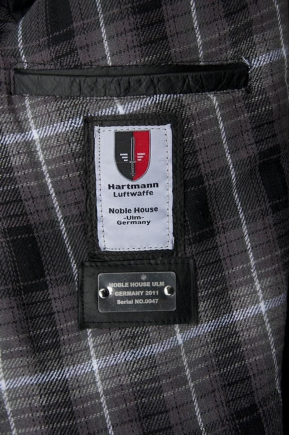 Fliegerjacke Herren Lederjacke Hartmann Pferdeleder Piloten Jacke schwarz Neu
