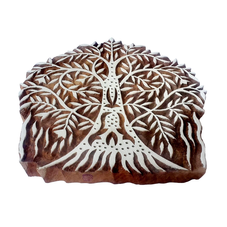 Indian Wood Block Large Banyan Tree Shape Big Printing Stamp