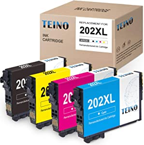 TEINO Remanufactured Ink Cartridges Replacement for Epson 202XL 202 XL T202XL use with Epson Workforce WF-2860 Expression Home XP-5100 (Black, Cyan, Magenta, Yellow, 4-Pack)