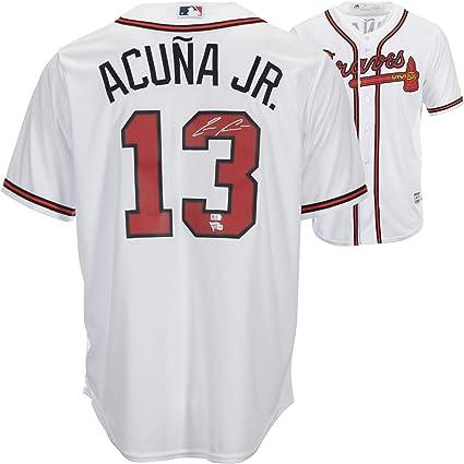4414b79bc86 Ronald Acuna Jr. Atlanta Braves Autographed Majestic White Replica ...