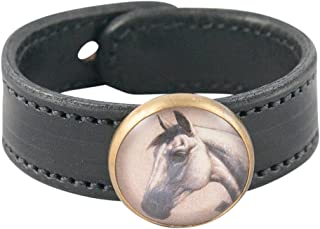 product image for Rebecca Ray Designs Equestrian Horse Rosette Slide Leather Cuff Bracelet