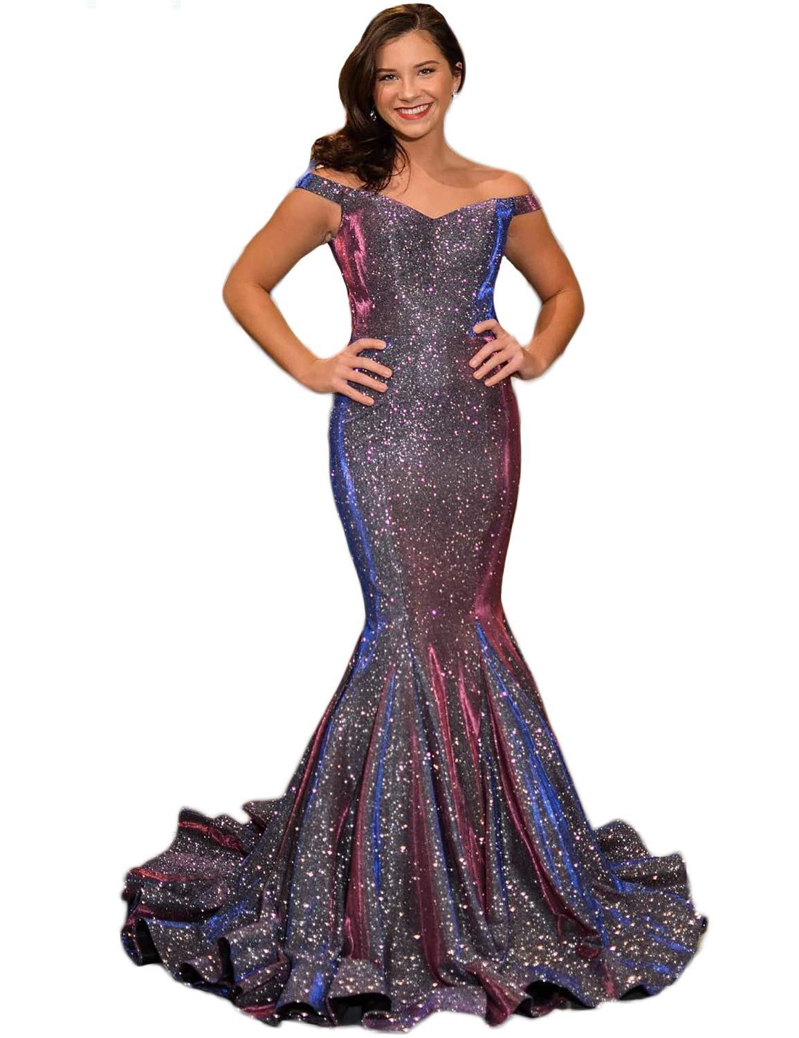 c097c483c72c Women's Sparkle Off Shoulder Prom Dresses 2019 Mermaid Long Formal ...