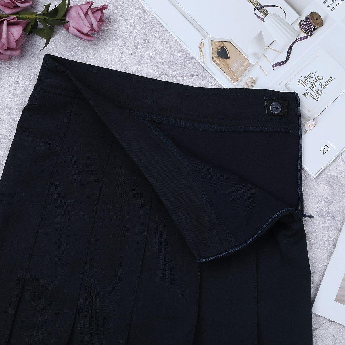 YiZYiF Kids Girls Elastic Soft Plain Uniform Pleated Skirt