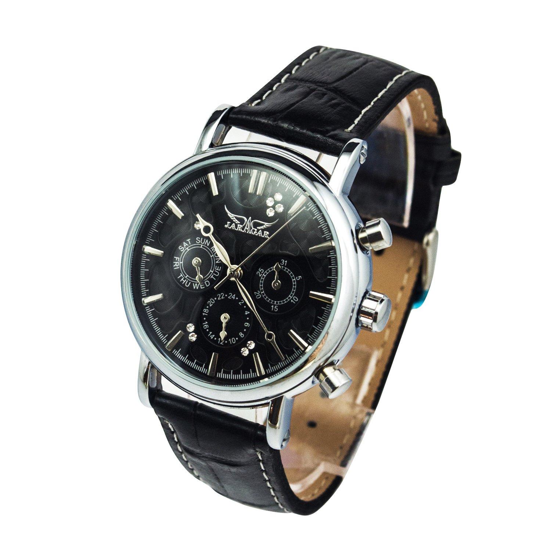 GuTeエレガントブラックGentlemen Automatic Mechanical Wrist Watch日/日/ 24hrsダイヤモンド B019TWEM62