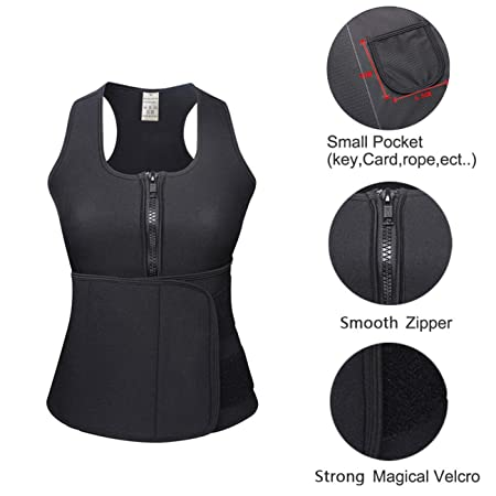 a2dceab9b70 Amazon.com   HEXIN Neoprene Sauna Waist Trainer Weight Loss Shapewear with  Adjustable Waist Trimmer Belt S-4Xl Size   Sports   Outdoors