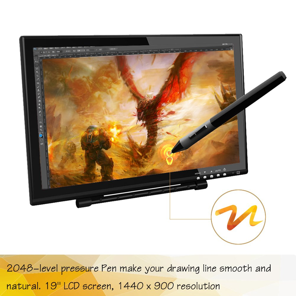 Ugee 1910B Interactive Pen Display Drawing Monitor Graphics Tablet 19 Inch LCD Screen with 2 Pens,1 Protector Film and 1 Glove by Ugee (Image #4)
