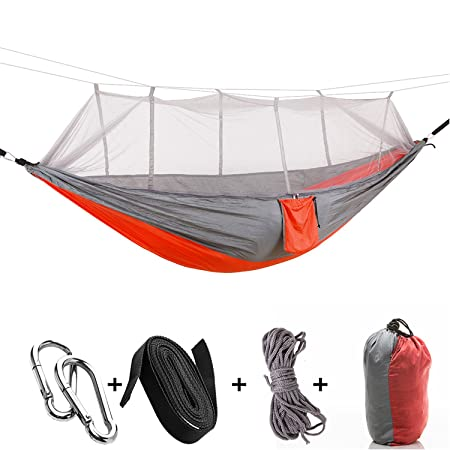 A-MORE Camping Hiking Hammock Mosquito Net Outdoor Nylon Fabric Lightweight Double Travel Beach Yard Backyard