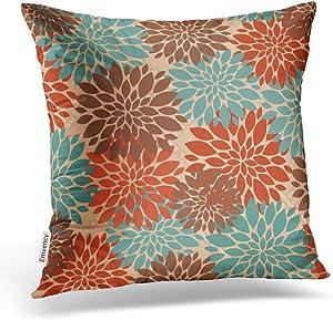 Accrocn Throw Pillow Covers Unique Elegant Orange Teal Cream Brown Peonies Print Pattern Popular Cushion Decorative Pillowcases Polyester 16 x 16 Inch Square Pillowcase Hidden Zipper