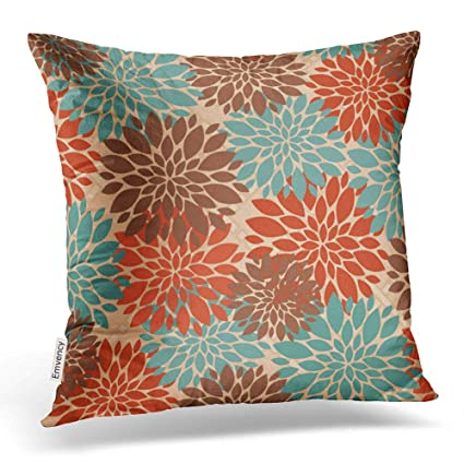 Tremendous Accrocn Throw Pillow Covers Unique Elegant Orange Teal Cream Brown Peonies Print Pattern Popular Cushion Decorative Pillowcases Polyester 20 X 20 Inch Theyellowbook Wood Chair Design Ideas Theyellowbookinfo