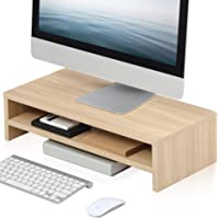 FITUEYES 2 Tiers Monitor Stand Wood Color Fax/Printer Riser Desk Organize for Home Office and School Use, 54x25.5cm…