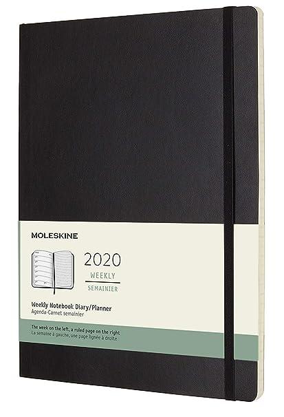 Moleskine - Agenda Semanal de 12 Meses 2020, Tapa Blanda y Goma Elástica, Color Negro, Tamaño Extra Grande 19 x 25 cm, 144 Páginas
