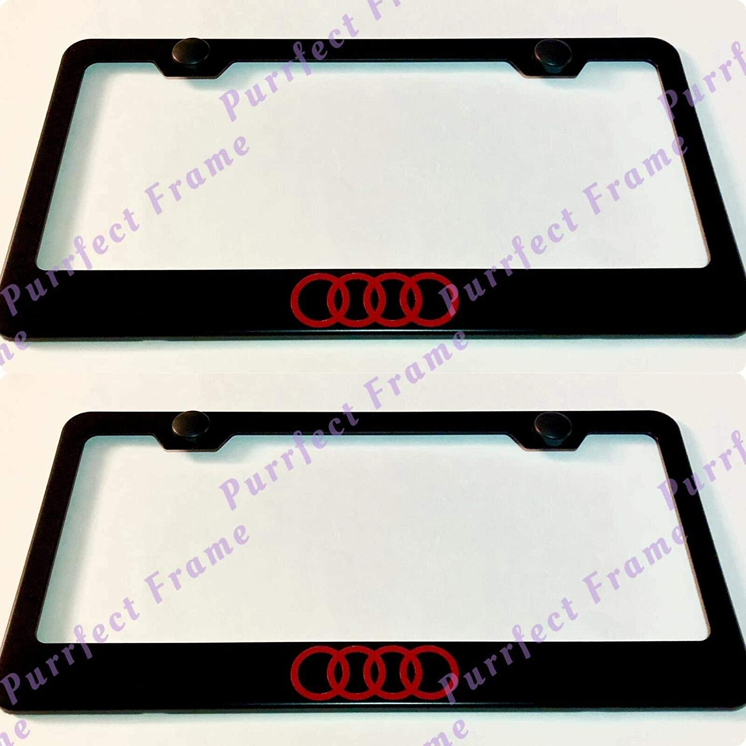 """2X /""""MERCEDES/"""" Logo Stainless Steel Black License Plate Frame Rust Free W// Caps"""