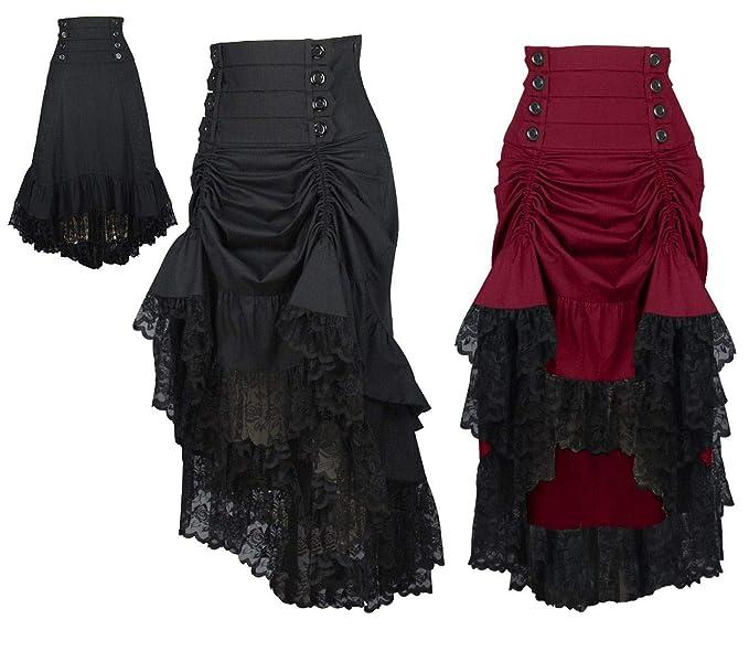da56f1c658 DangerousFX 8 - 28 Gótico Victoriano Negro Burdeos Cintura Alta Corto Salón  Largo  Amazon.es  Ropa y accesorios