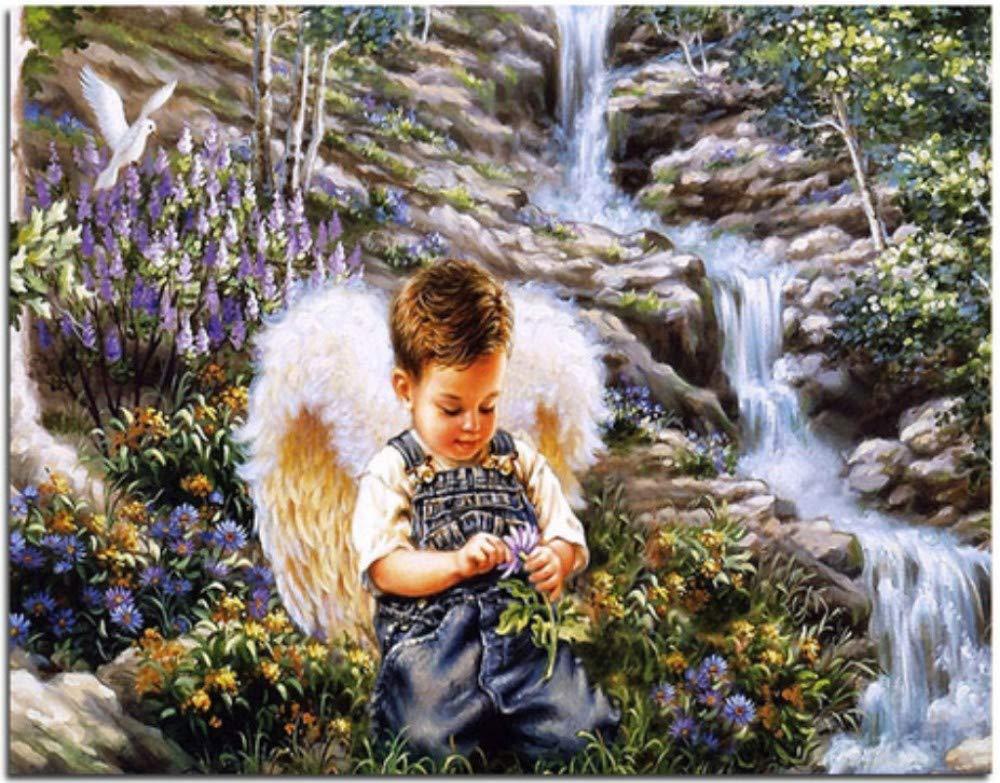 Mrzy DIY Pintura al óleo by números Pintura sobre Lienzo de Pared Moderno Cuadros para la Sala de Arte de la Pared decoración para el hogar Angel Boy 40x50 cm