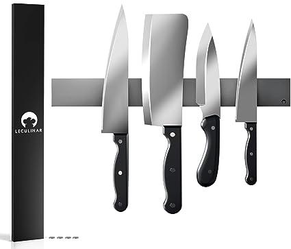 LECULINAR Premium - Soporte magnético para cuchillos de acero inoxidable, fijación extrafuerte, | Barra libre de óxido | Cuchillo Listón magnético ...