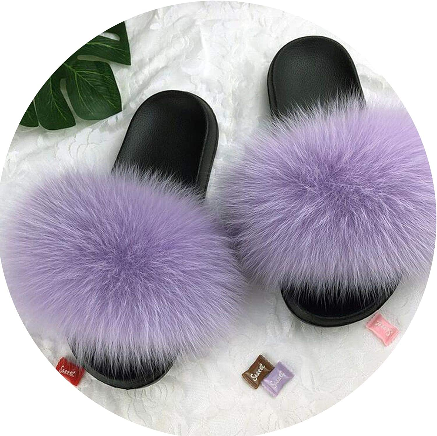 Real Fox Hair Slippers Plush Furry Real Fur Slippers 2019 Casual Soft Bottom Slides Summer Shoes Women Flip Flops Ladies Sandals,H,11.5