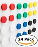 Bullseye Office Magnets (24 Pack) - Colorful Round, Refrigerator Magnets - Perfect as Whiteboards, Lockers, or Fridge Magnets [Assorted Colors: Red, Blue, Green, Black, Yellow, White]