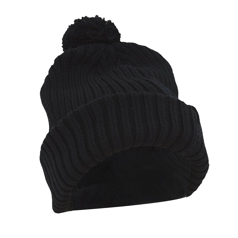 e463811eb75e09 Amazon.com: Ladies/Womens Chunky Knit Thermal Winter/Ski Hat With Pom Pom  (One Size) (Black): Clothing