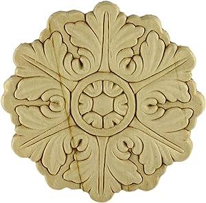 "UNIQANTIQ HARDWARE SUPPLY Round Medallion Birch Wood Applique - 5"" Onlay Antique & Modern Furniture Doors, Walls Carved Ornamental Decor | G10-B259"
