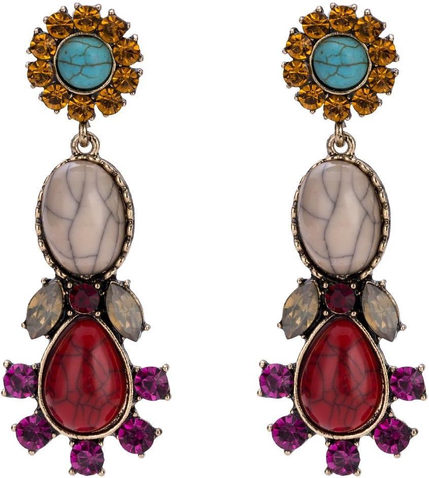 Sun Hero Elegantes Pendientes de joyería Pendientes de Bohemia Stud Pendientes de aleación de Flor de Turquesa Regalo (Rojo)