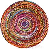 Eyes of India - 6 ft Round Colorful Woven Chindi Braided Area Decorative Rag Rug Indian Bohemian Accent Boho Chic…