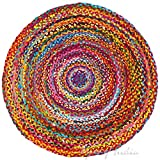 Eyes of India - 5 ft Round Colorful Woven Chindi Braided Area Decorative Rag Rug Indian Bohemian Accent Boho Chic Handmade Handwoven