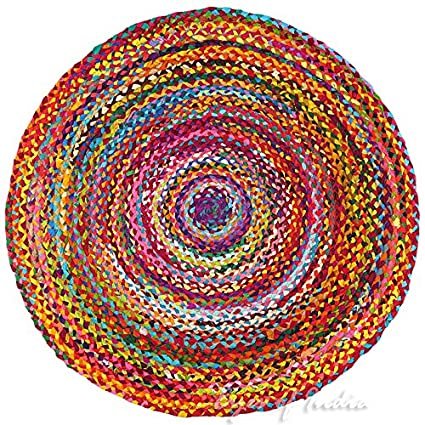 Eyes India - 5 ft Round Colorful Woven Chindi Braided Area Decorative Rag Rug Indian Bohemian Boho Eyes of India