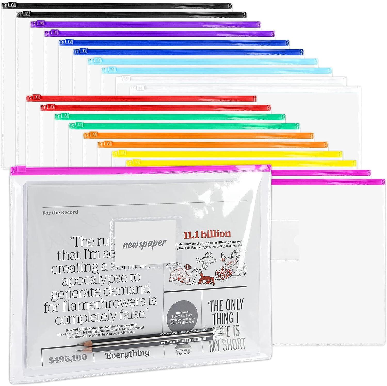 LABUK 35 Pack Poly Zip Envelopes, A4 Size Plastic Envelopes File Folder with Zipper, Plastic Folders with Label Pocket for Home Work Office Organization, Letter Size, 10 Colors