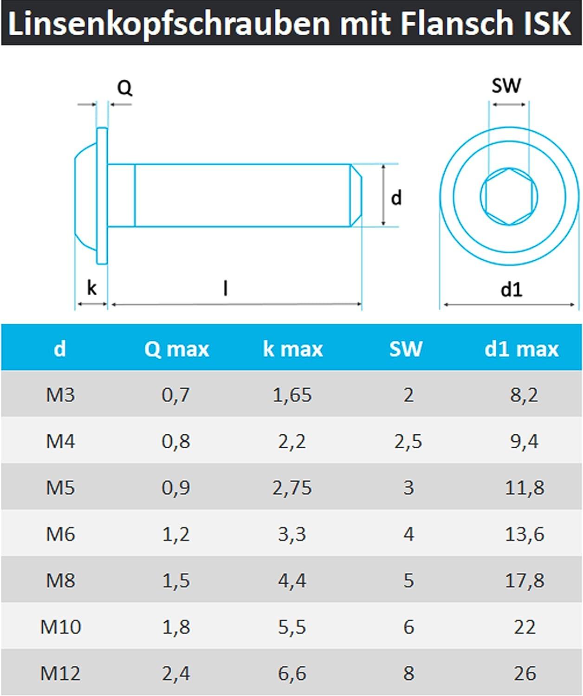 M 6 x 45 10 St/ück Senkkopfschrauben DIN 7991 M3//M4//M5//M6//M8//M10 Edelstahl V2A Innensechskant //// EHK-Verbindungstechnik