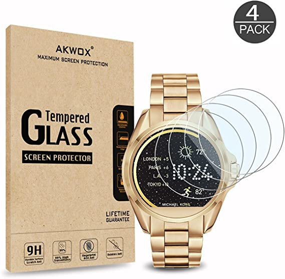 (4-Pack) Tempered Glass Screen Protector for Michael Kors MKT5001, Akwox [0.3mm 2.5D High Definition 9H] Anti Scratch Screen Protector for Michael ...