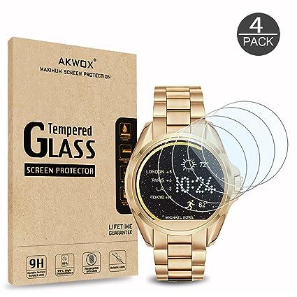 AKWOX [4 Unidades] Protector de Pantalla para Michael Kors MKT5001 [9H Dureza] Cristal Vidrio Templado para Michael Kors MKT5001 Cristal Templado