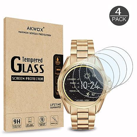 AKWOX [Lot de 4] Protecteur décran Michael Kors MKT5001, Film de Protection dÉcran[0.3mm 2.5D Haute définition 9H] Anti Rayures sans Bulles Film ...