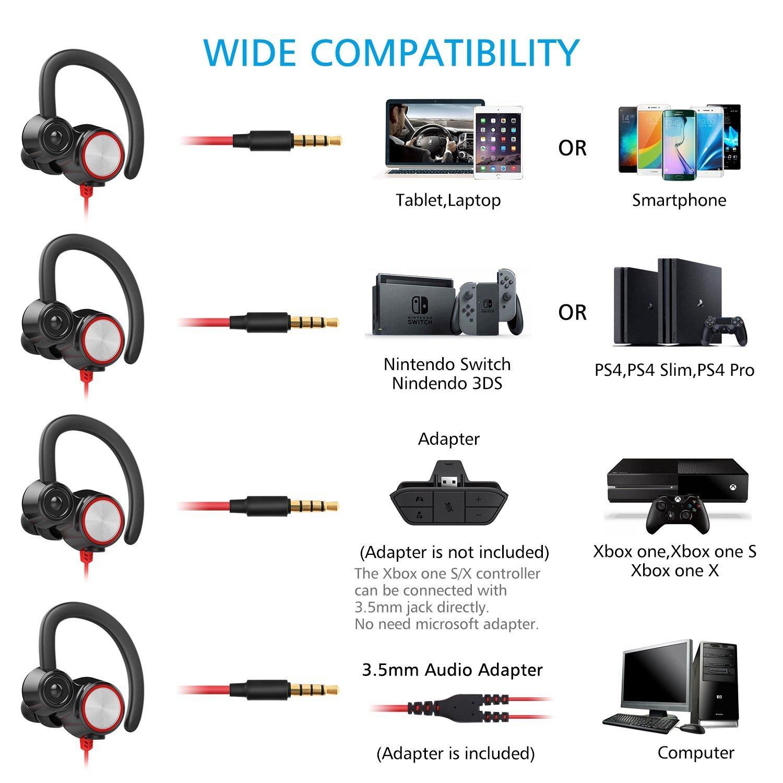 écouteur In Ear Lauva Gamer Casque Avec Microphone Filaire Avec Micro Réglable Casque Anti bruit E sport pour PS4 Xbox e Nintendo Switch
