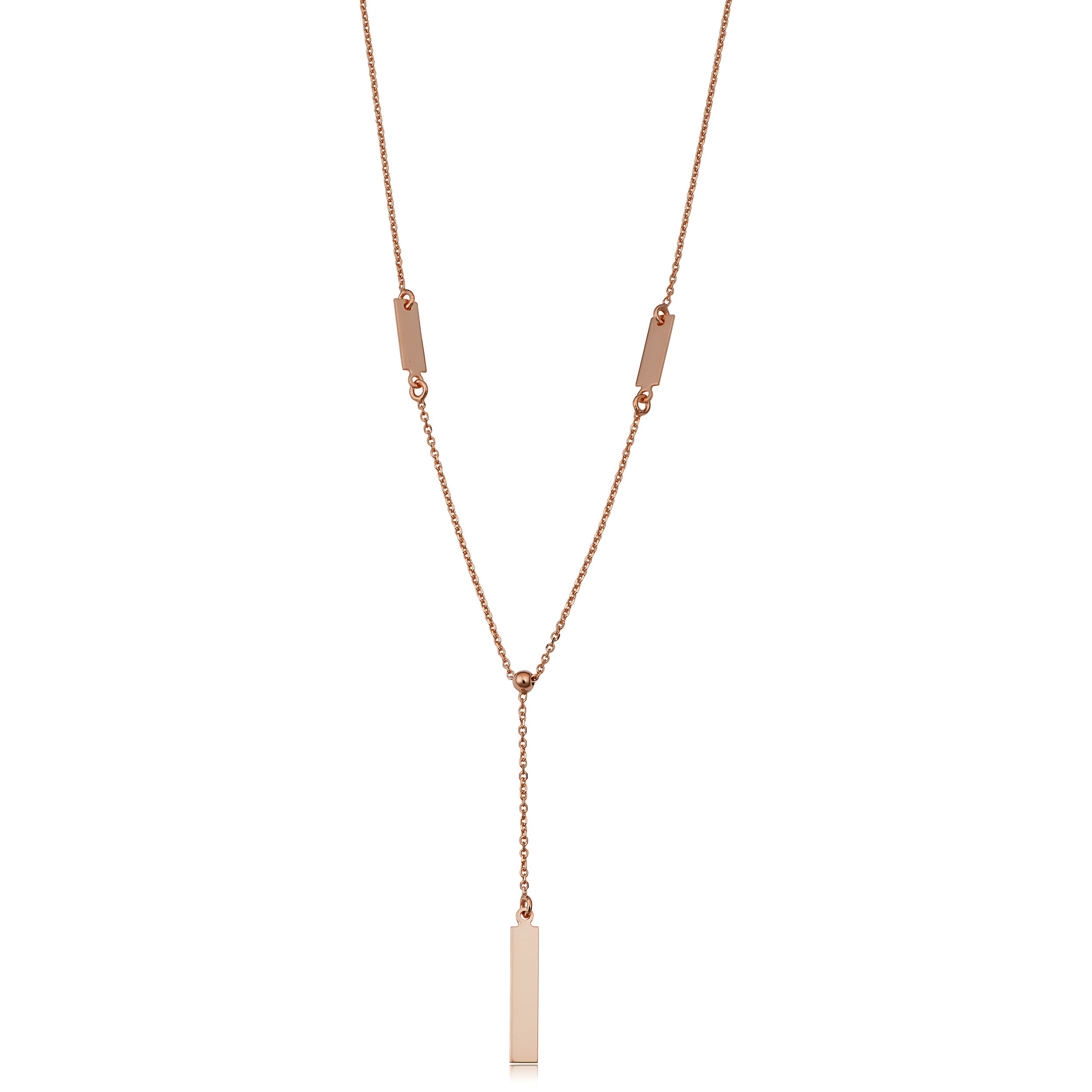 14k Rose Gold Bar Drop Adjustable Length Y Necklace (adjusts to 17'' or 18'')