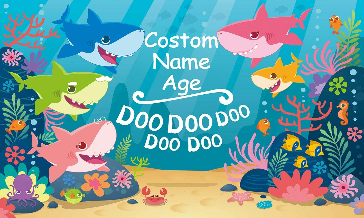 GYA Bady Shark Theme Backdrop Custom Name & Age Birthday Party Background 6x4ft